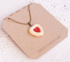 Heart Linzer Cookie necklace by BadgersBakery