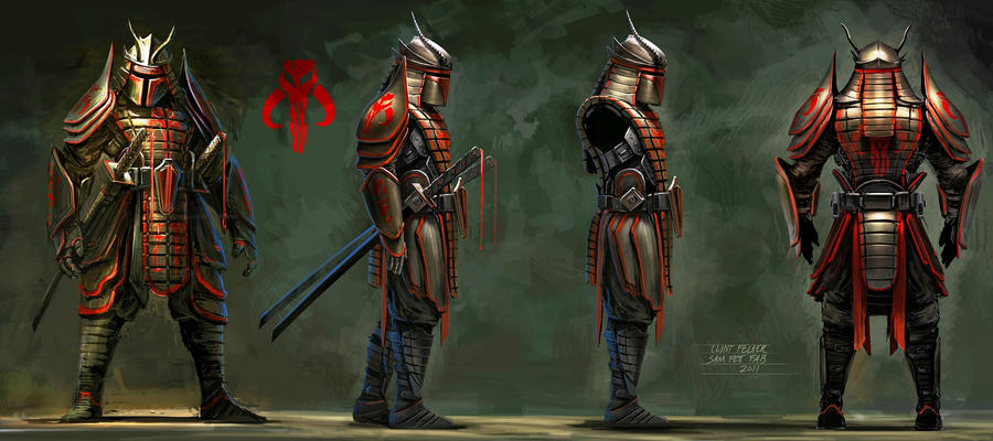 Original Samurai Boba Fett Concept Art by Clint Fe by anarchysquared