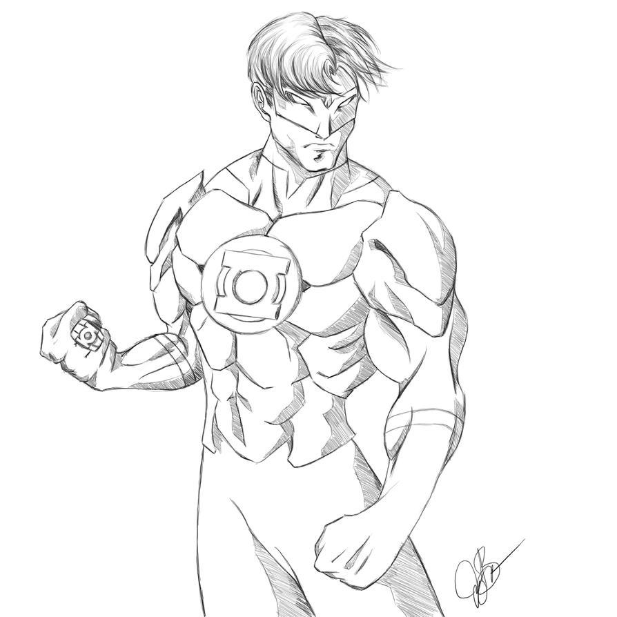 Green Lantern (Hal Jordan) Sketch by joeybowsergraphics