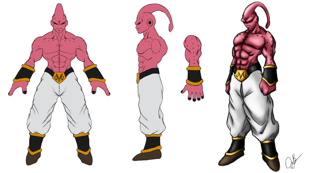 Super Buu Orthographic Drawing by joeybowsergraphics
