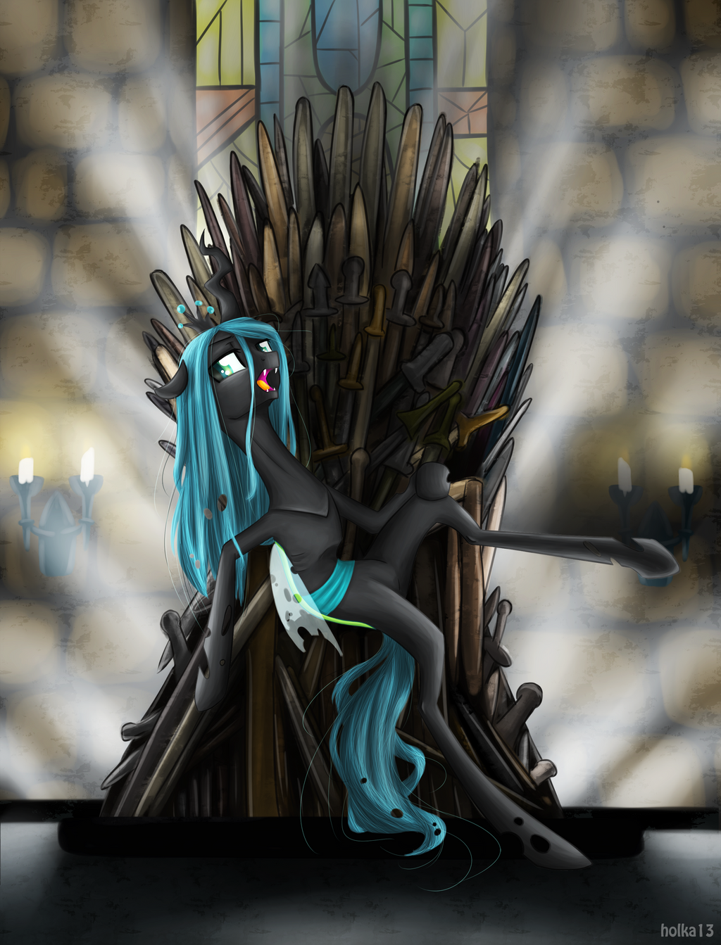 Chrysalis and the iron throne by holka13 on deviantart for Iron throne painting