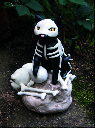 Bones the Skeleton Cat - Lrg by yingmakes