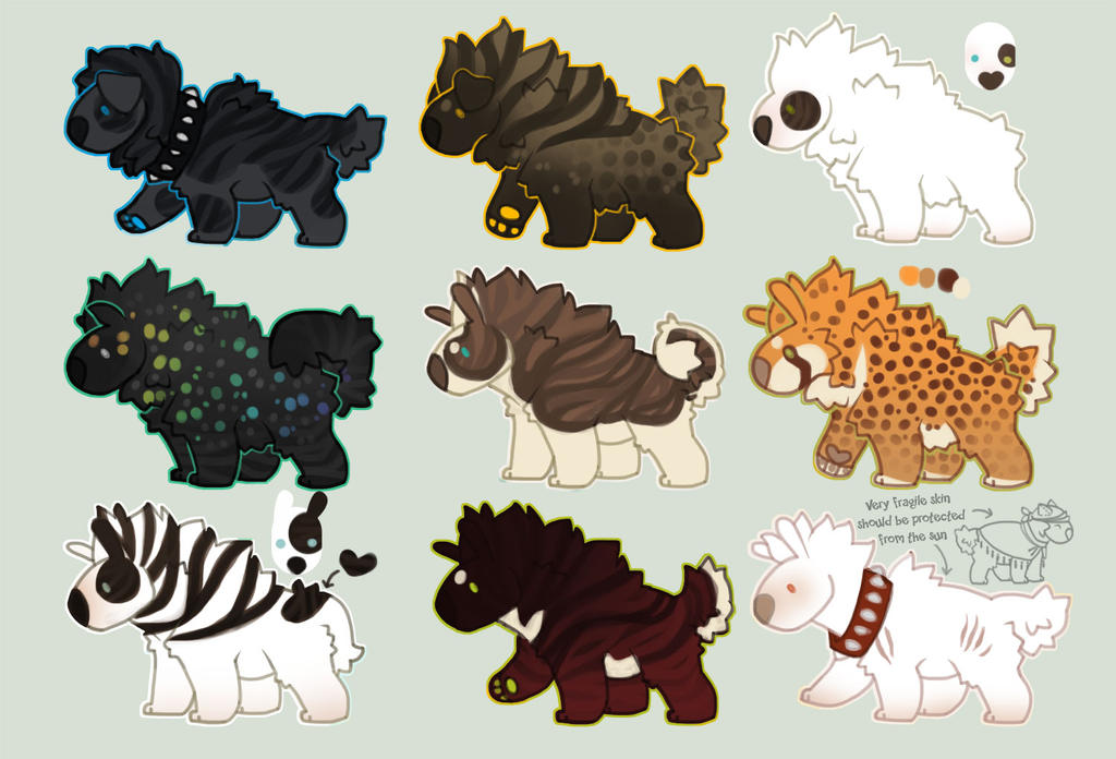 Bull-hyena-terrier adoptables (auction) LAST HOUR by Shegoran