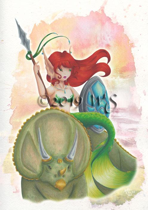 Prehistoric Warrior Mermaid