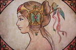 mucha profile - green butterfly
