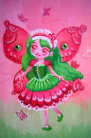 green and pink fairy by selewyn