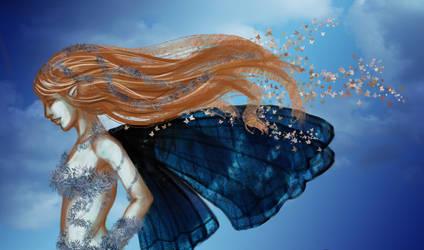 blue butterfly fairy by selewyn