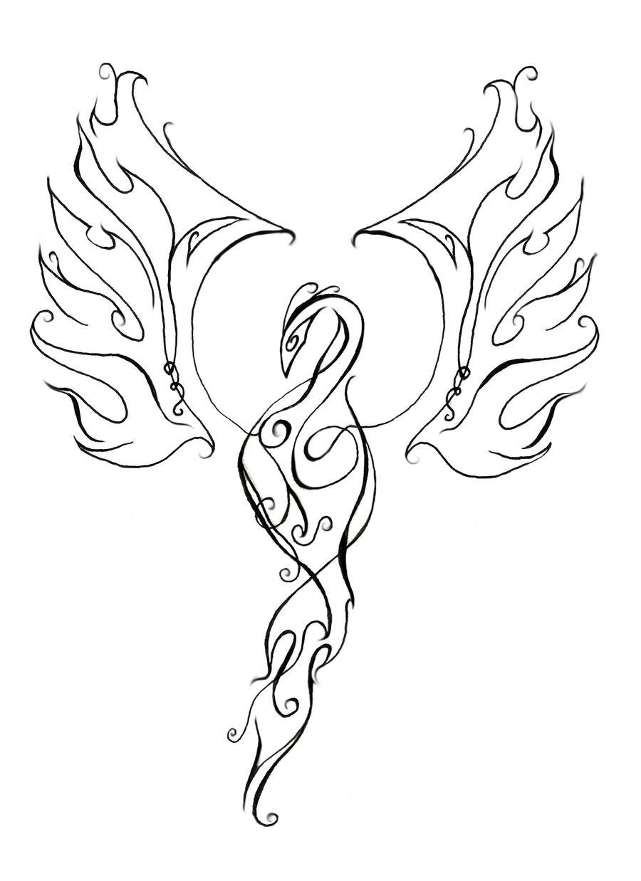 Line Drawing Tattoo Designs : Phoenix line design by artfullycreative on deviantart