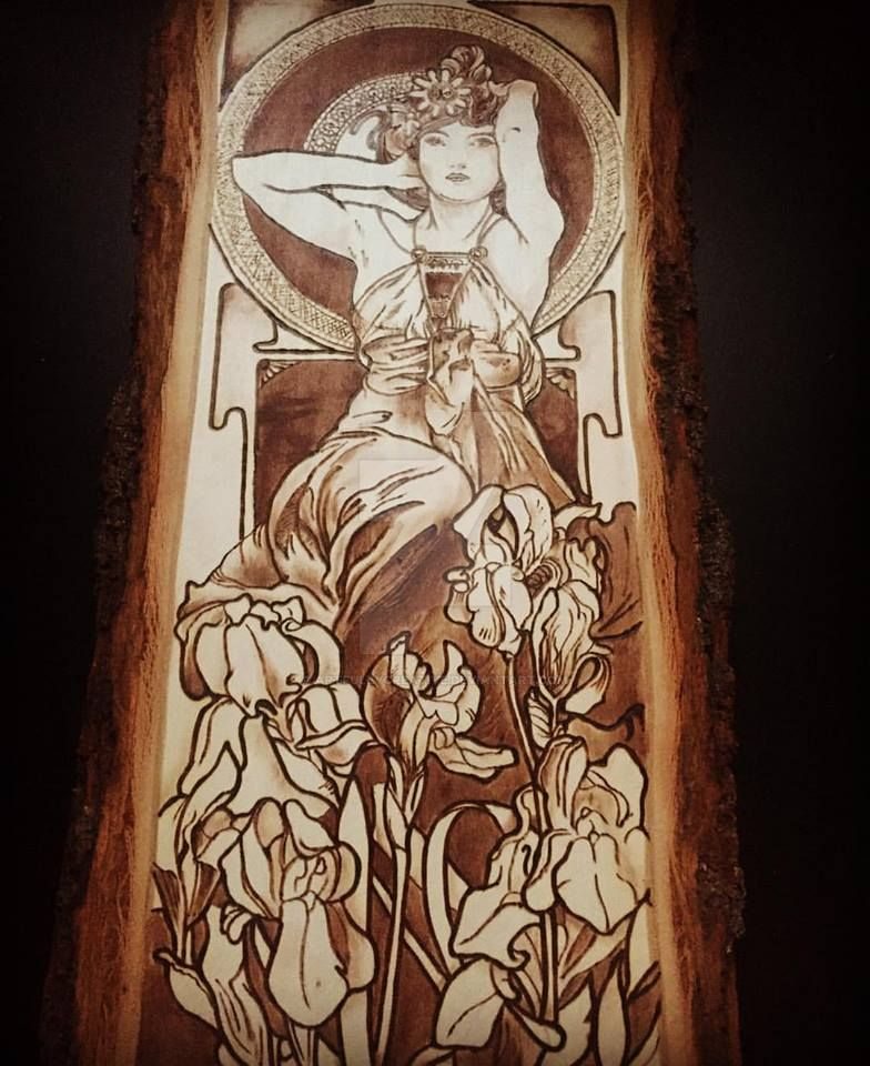 Mucha's Amethyst- Wood burned by artfullycreative