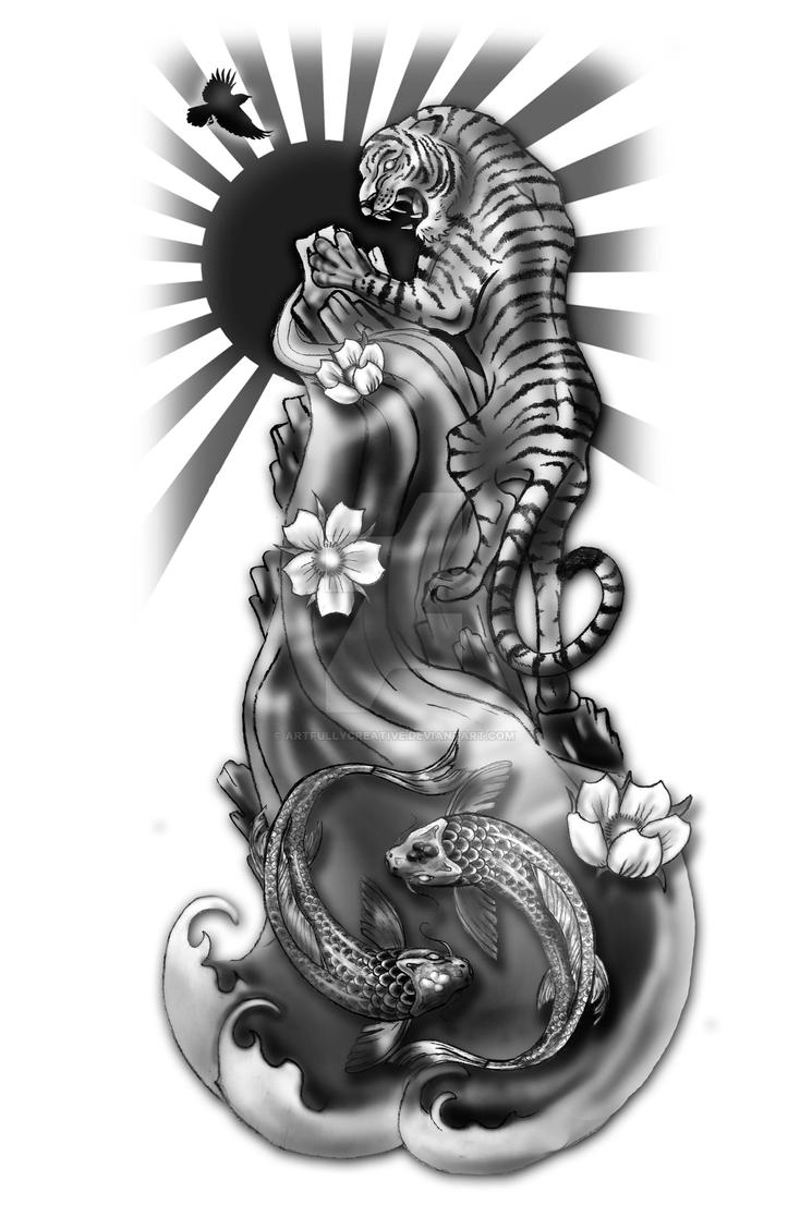 Tiger and Koi Tattoo Concept by artfullycreative