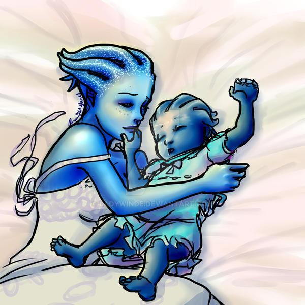 Asari Baby Liara's Joy by ladywin...