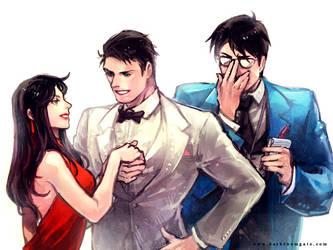 Lois Lane and Bruce Wayne and Clark Kent by Haining-art