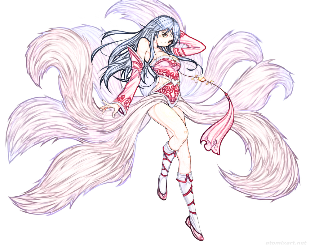 LOL- Ahri ( Line Art colored) by lolSmokey