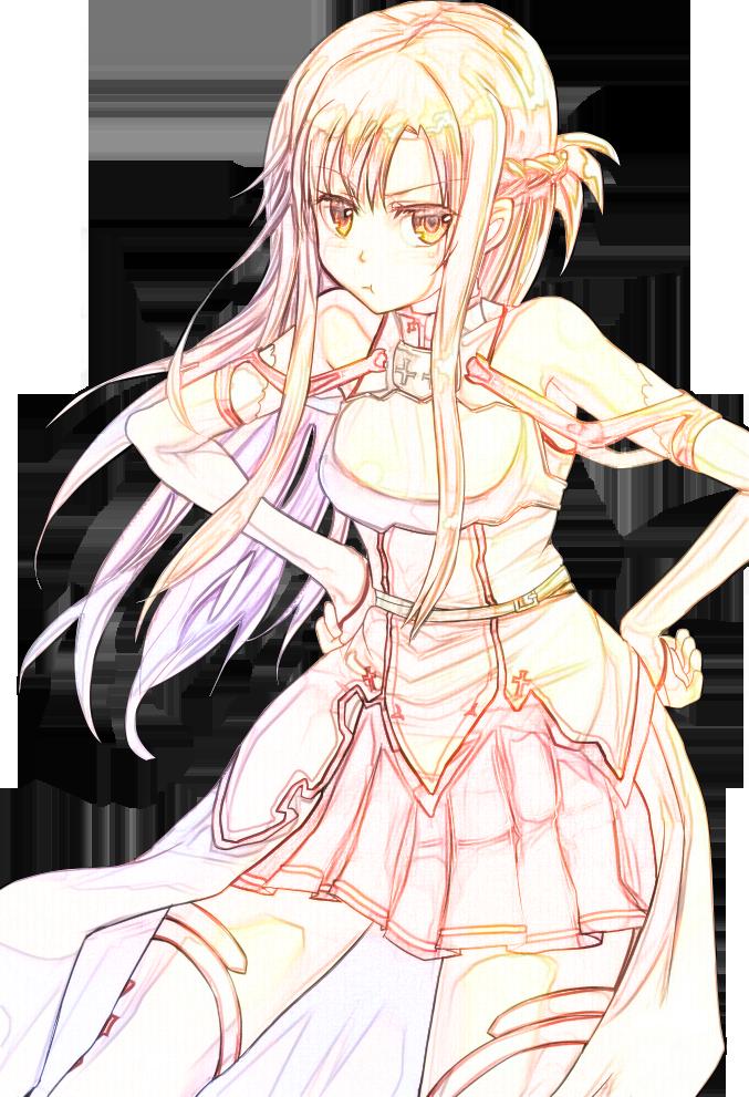 Line Art Render : Sword art online asuna yuuki line render by