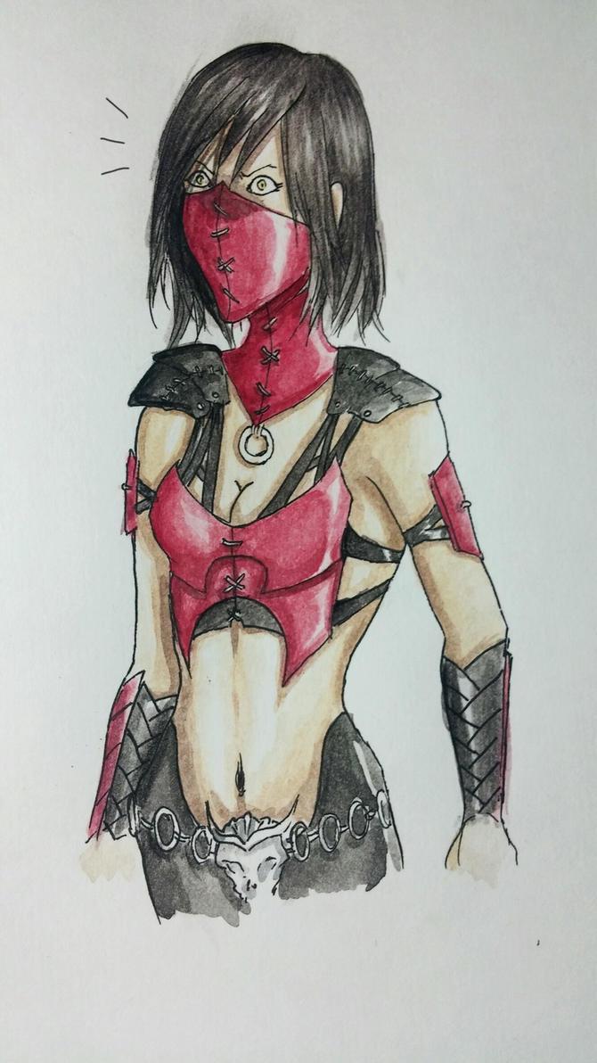 mileena mk x (color sketch) 2 by Yankiey