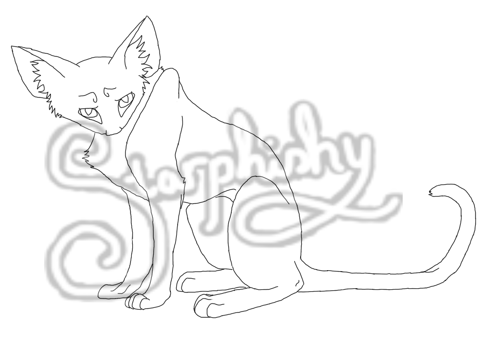 Cat Lineart by Starphishy