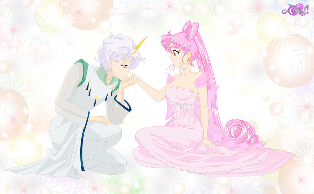 Helios kisses Lady Chibiusa by AndromedaChained