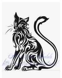 Sitting Cat Tribal Tattoo