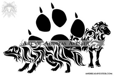 fcb34899f7c20 AndreasAvester 7 0 Australian Shepherd Dog and Sheep Tribal Tattoo by  AndreasAvester