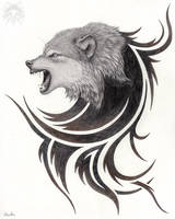 Metalpoint Drawing: Snarling Wolf Tribal