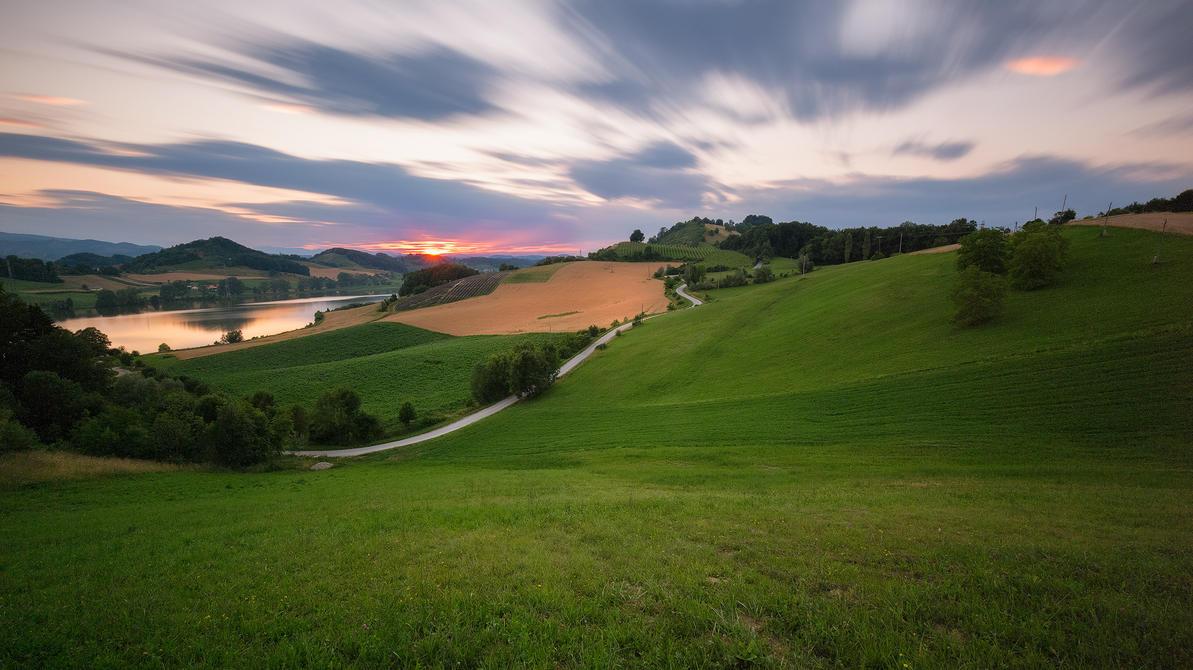 Sunset at Pernica lake by TomazKlemensak