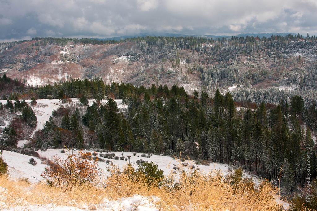 Snow on the foothills 3 by kayaksailor