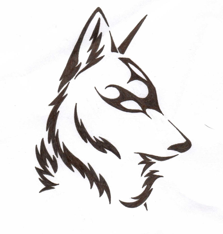 easy tribal wolf drawing - photo #7