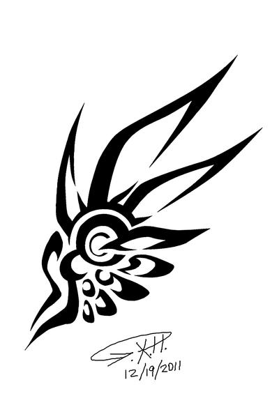 Tattoo Line Drawing Software : Wing o tattoo by herxg sticky rice on deviantart
