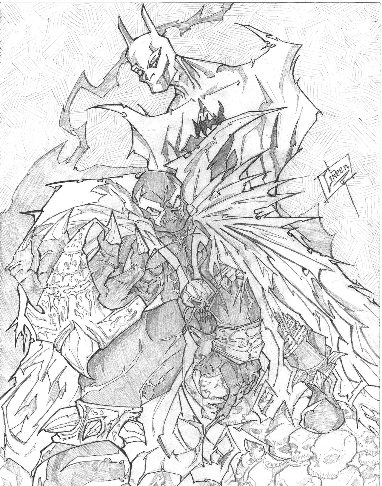 Batman and Spawn Pencil sketch by greenhickup on DeviantArt | 1280 x 1629 jpeg 737kB