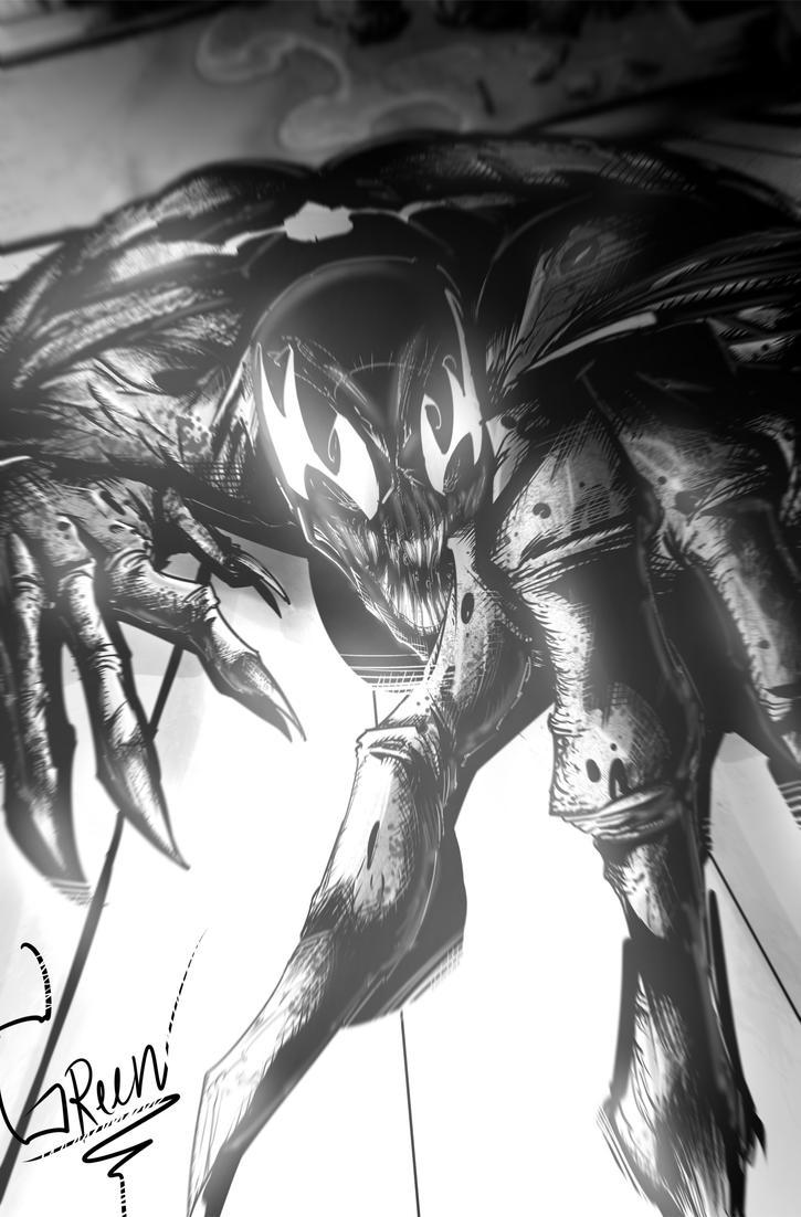 Venom  Black and White piece by greenhickup