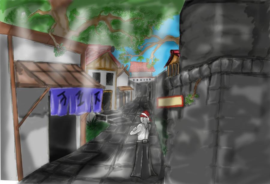 Edo street color doodle by SvirreFisk