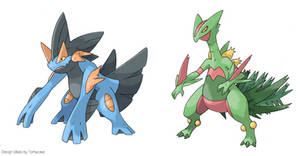 Mega-Swampert and Mega-Sceptile - Early concepts