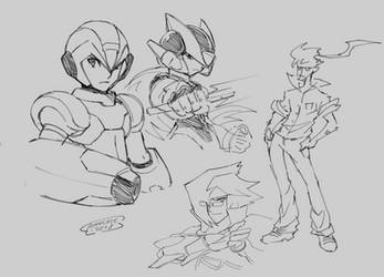 Drawpile Sketch 4 - Heroes and a random by Tomycase