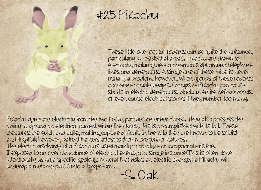 Pikachu, A Field Study by TravestyYM