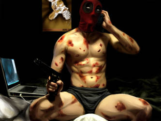 Painting of Deadpool by Ribboned