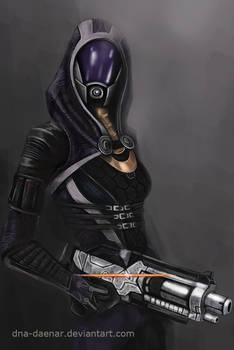 She has a shotgun