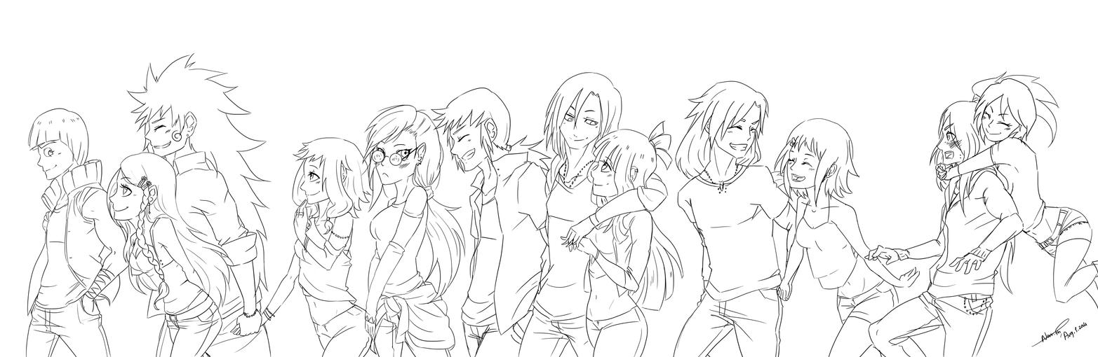 Line Art Group : Paypal commission group line art white by stray ink