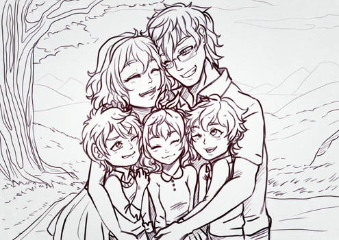 paypal commissiom : family lineart