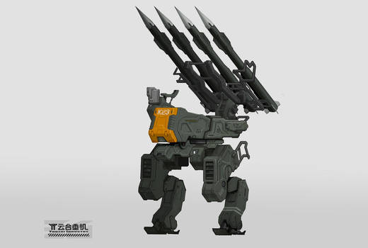 mecha with anti-air missile and radar
