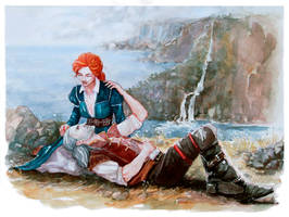 Geralt and Triss happy together