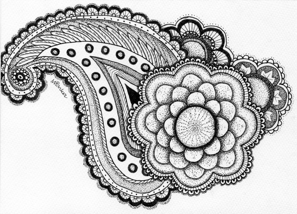 Paisley w/ flouers b-w by PencilsAndInk
