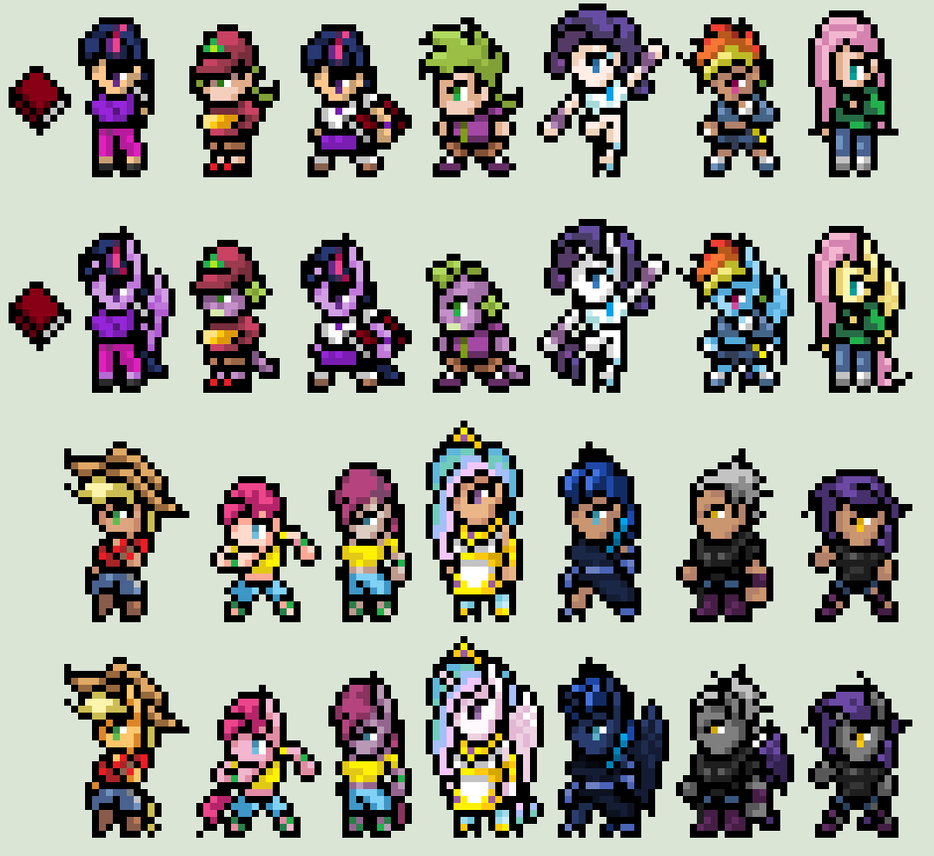 RPG Sprites MLP Ponies Humans by XDairantoux