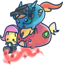 Fluttermedic, Heavy Macintosh + RainbowScout Blobs by Taldigi