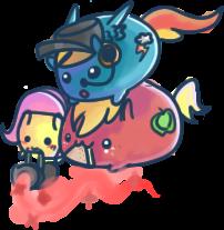 Fluttermedic, Heavy Macintosh + RainbowScout Blobs by Taldigi