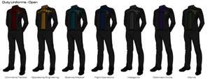 Starfleet '2409' Uniforms - Duty Uniforms (Open) by HaphazArtGeek