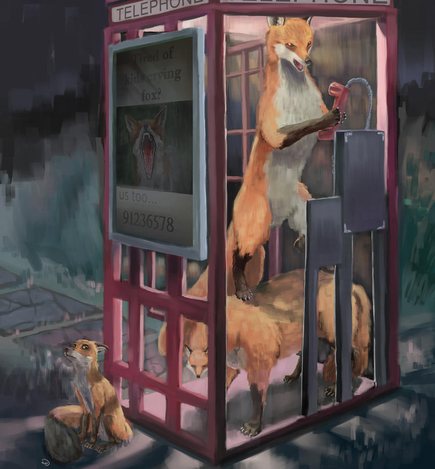 Foxes Using a Phone Booth by waltervan00