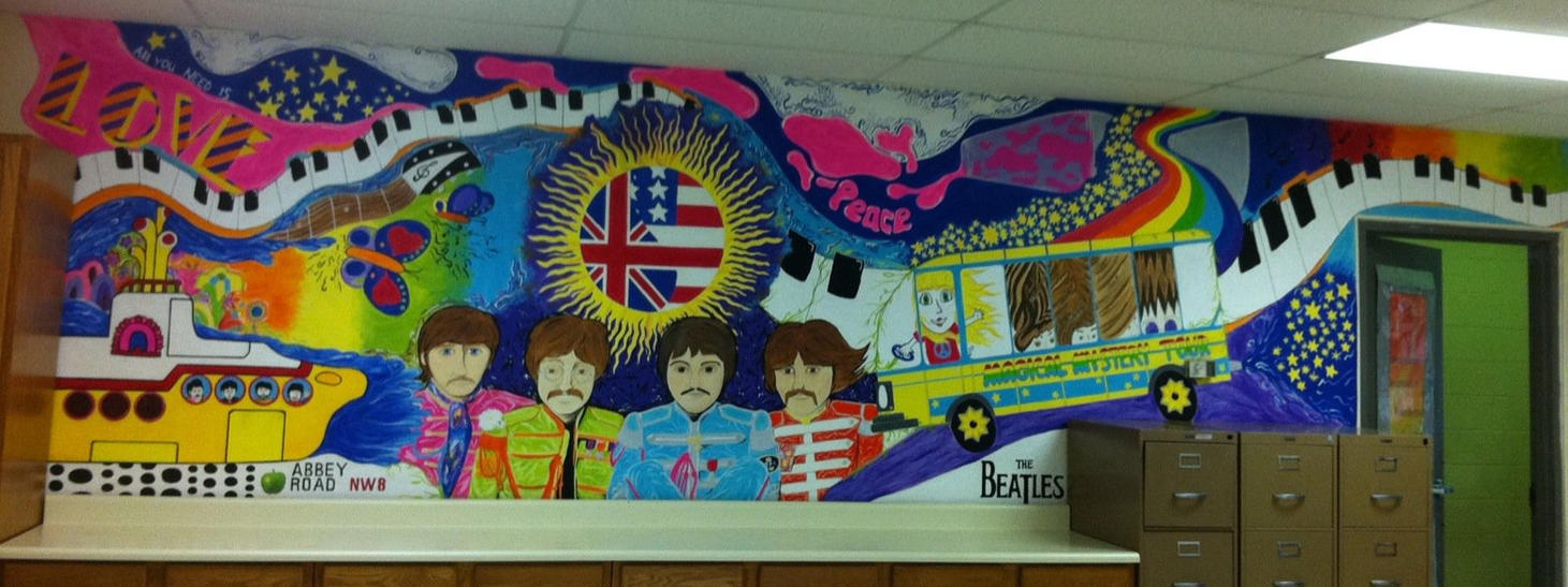 My beatles mural complete by emilyhippieelliott on for Beatles wall mural