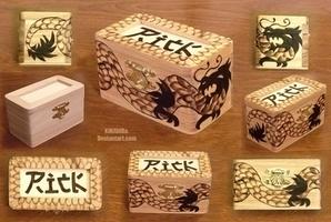 Woodburned Dragon Box 2 by KiRAWRa