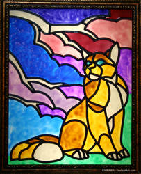 Cloudy Cat Faux Stained Glass by KiRAWRa