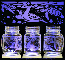 Etched Glass - Sea Turtles by KiRAWRa